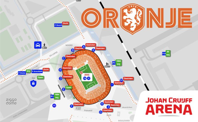 Oranje plattegrond EURO 2020